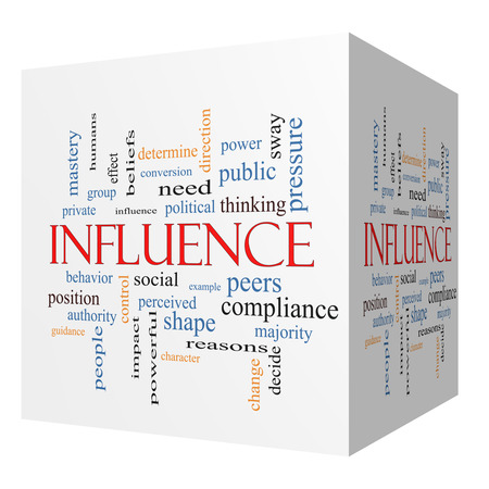 need direction: Influence 3D cube Word Cloud Concept with great terms such as example, control, beliefs and more. Stock Photo