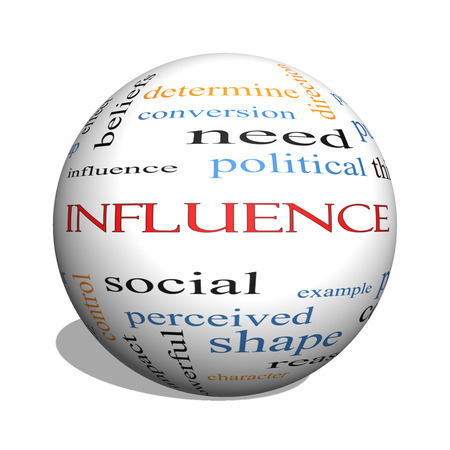 sphere of influence: Influence 3D sphere Word Cloud Concept with great terms such as example, control, beliefs and more.