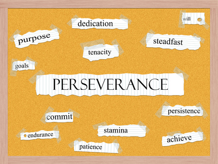 Perseverance Corkboard Word Concept with great terms such as dedication, steadfast, tenacity and more. Stock Photo
