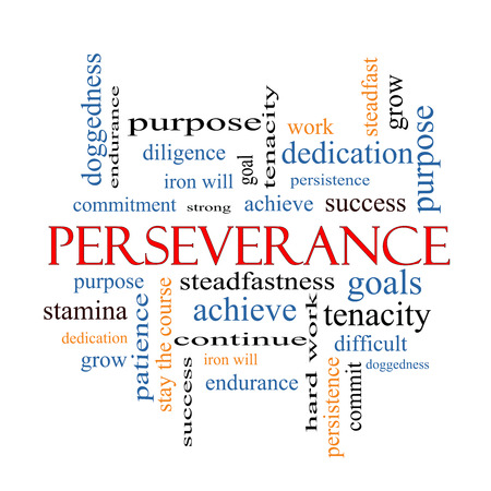 stay on course: Perseverance Word Cloud Concept with great terms such as endurance, doggedness, purpose and more.