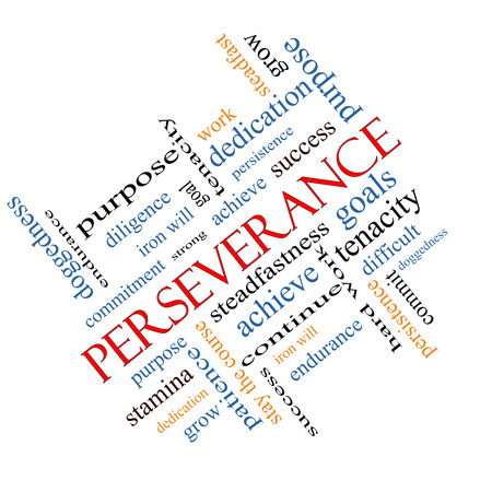 stay on course: Perseverance Word Cloud Concept angled with great terms such as endurance, doggedness, purpose and more.