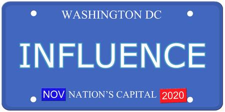 Een imitatie Washington DC kenteken met het woord invloed en kapitaal van de natie het maken van een geweldig concept.