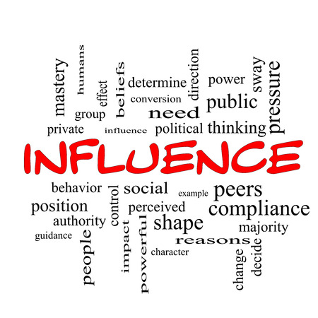 Influence Word Cloud Concept in red caps with great terms such as example, control, beliefs and more. photo