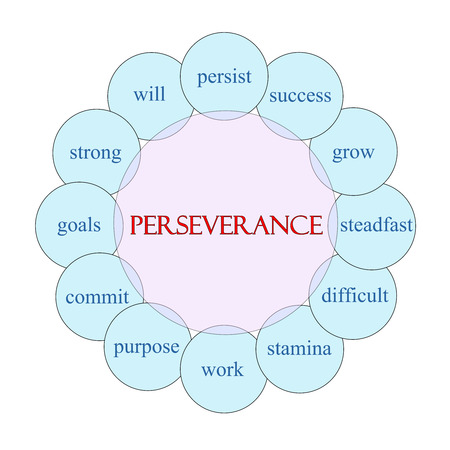 perseverance: Perseverance concept circular diagram in pink and blue with great terms such as persist, success, grow and more. Stock Photo