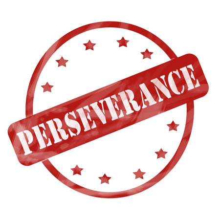 perseverance: A red ink weathered roughed up circle and stars stamp design with the word PERSEVERANCE on it making a great concept. Stock Photo
