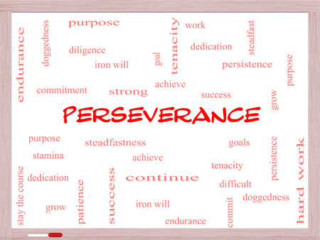 stay on course: Perseverance Word Cloud Concept on a Whiteboard with great terms such as endurance, doggedness, purpose and more.