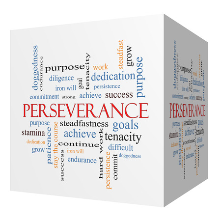 stay on course: Perseverance 3D cube Word Cloud Concept with great terms such as endurance, doggedness, purpose and more. Stock Photo