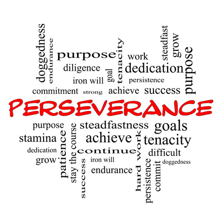 dedication: Perseverance Word Cloud Concept in red caps with great terms such as endurance, doggedness, purpose and more. Stock Photo