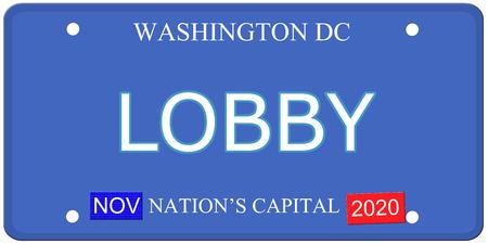 Een imitatie Washington DC kenteken met het woord lobby en kapitaal van de natie het maken van een geweldig concept. Stockfoto
