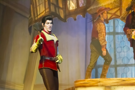 GREEN BAY, WI - FEBRUARY 10: Gaston stands with a gun from Beauty and the Beast at the Disney Princesses show at the Resch Center on February 10, 2012 in Green Bay, Wisconsin.