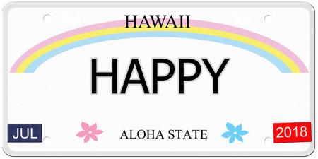 Gelukkig geschreven op een imitatie Hawaii kenteken met de Aloha staat het maken van een geweldig concept.