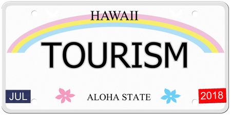 Toerisme geschreven op een imitatie Hawaii kenteken met de Aloha State het maken van een geweldig concept.