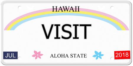 Bezoek geschreven op een imitatie Hawaii kenteken met de Aloha Staat het maken van een geweldig concept.