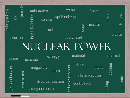 megawatt: Nuclear Power Word Cloud Concept on a Blackboard with great terms such as energy, fuel, atom and more.