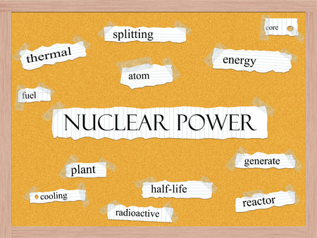 Nuclear Power Corkboard Word Concept with great terms such as energy, splitting, atom and more. Stock Photo