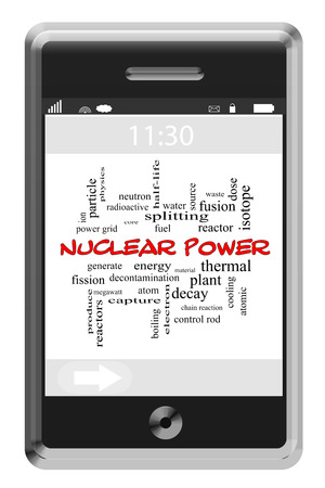 waste water: Nuclear Power Word Cloud Concept on a Touchscreen Phone with great terms such as reactor, core, atom and more.