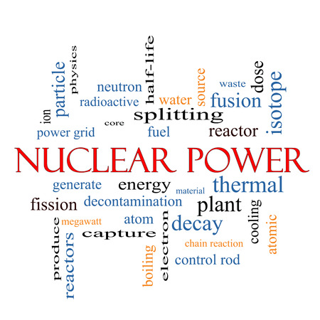 Nuclear Power Word Cloud Concept with great terms such as energy, fuel, atom and more. photo