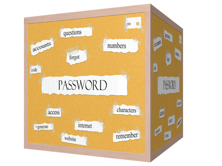 forgot: Password 3D cube Corkboard Word Concept with great terms such as numbers, code, remember and more.