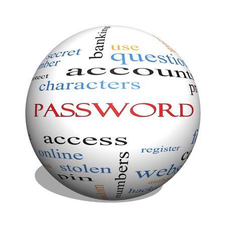 forgot: Password 3D sphere Word Cloud Concept with great terms such as access, register, characters and more. Stock Photo