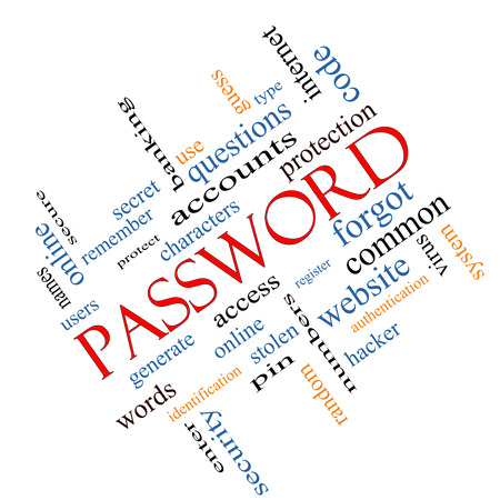 secret code: Password Word Cloud Concept angled with great terms such as access, register, characters and more.