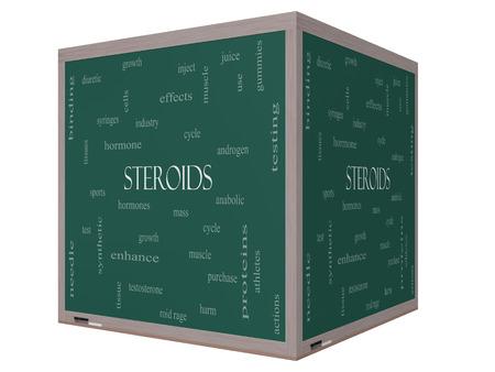 이러한 호르몬, 스포츠, 합성 등과 같은 좋은 조건의 3D 큐브 칠판에 스테로이드 단어 구름 개념입니다. 스톡 콘텐츠 - 27553801