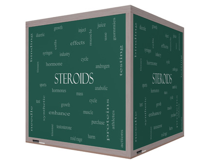 hormone: Steroide Word Wolke Konzept auf einem 3D-W�rfel Tafel mit gro�en Begriffen wie Hormone, Sport, synthetischen und mehr.