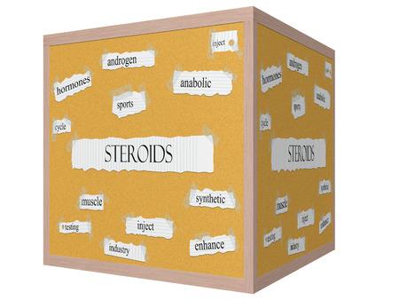 hormones: Esteroides 3D cube Corkboard Palabra Concepto con los t�rminos tales como hormonas, deportes, anabolizantes y m�s. Foto de archivo