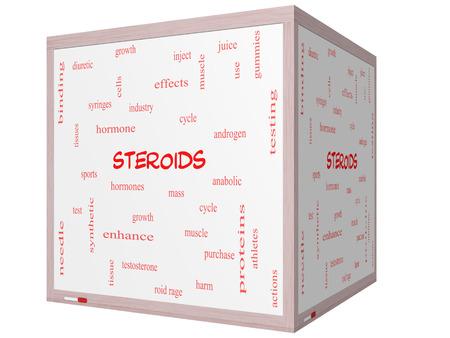 hormonas: Esteroides Palabra Nube Concepto en un cubo 3D Pizarra con grandes t�rminos como las hormonas, los deportes, sint�tico y m�s.