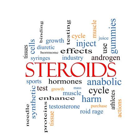 hormonen: Steroïden Word Cloud Concept met grote termen zoals hormonen, sport, synthetische en meer.