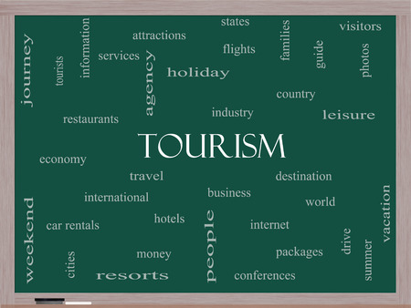 Tourism Word Cloud Concept on a Blackboard with great terms such as travel, industry, world and more.