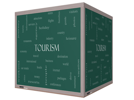 Tourism Word Cloud Concept on a 3D cube Blackboard with great terms such as travel, industry, world and more. Stock Photo - 27553820