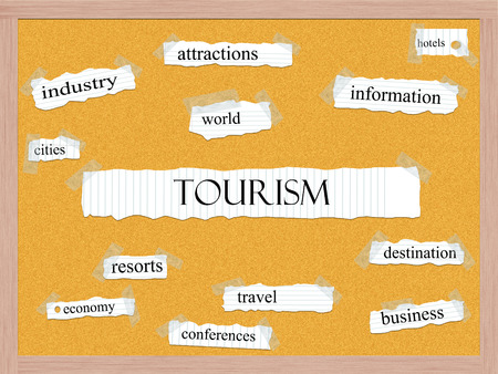 Tourism Corkboard Word Concept with great terms such as industry, attractions, world and more. Stock Photo