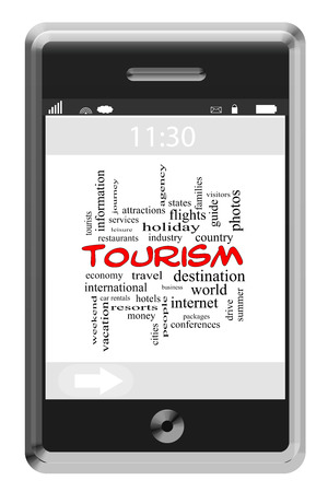 Tourism Word Cloud Concept on a Touchscreen Phone with great terms such as hotels, travel, information and more. Stock Photo - 27553824