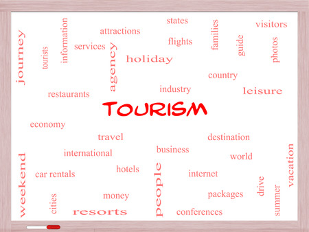 Tourism Word Cloud Concept on a Whiteboard with great terms such as travel, industry, world and more. Stock Photo - 27553828