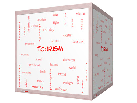 Tourism Word Cloud Concept on a 3D cube Whiteboard with great terms such as travel, industry, world and more. Stock Photo - 27553829
