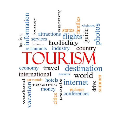 Tourism Word Cloud Concept with great terms such as travel, industry, world and more. photo