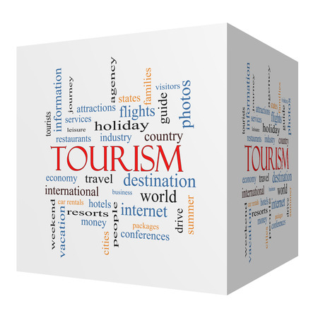 Tourism 3D cube Word Cloud Concept with great terms such as travel, industry, world and more. Stock Photo - 27553831