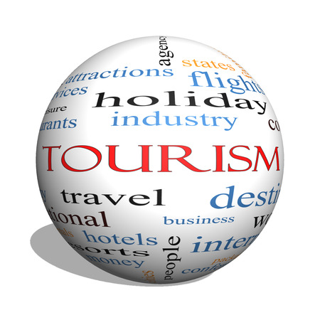 Tourism 3D sphere Word Cloud Concept with great terms such as travel, industry, world and more. Stock Photo - 27553832
