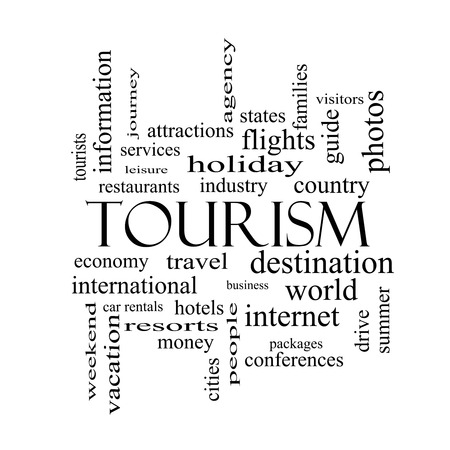 Tourism Word Cloud Concept in black and white with great terms such as travel, industry, world and more. Stock Photo - 27553834