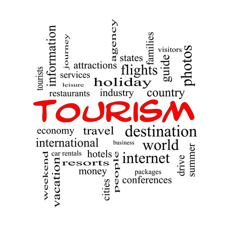 Tourism Word Cloud Concept in red caps with great terms such as travel, industry, world and more. Stock Photo - 27553836