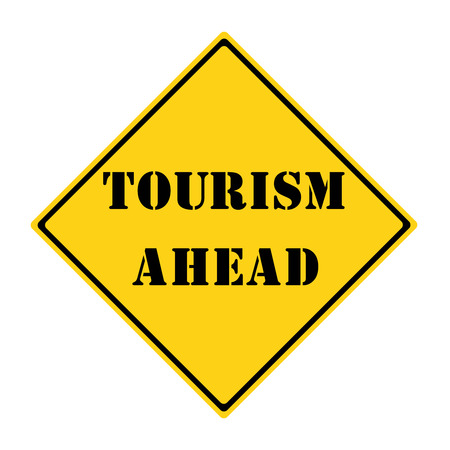 diamond shaped: A yellow and black diamond shaped road sign with the words TOURISM AHEAD making a great concept.