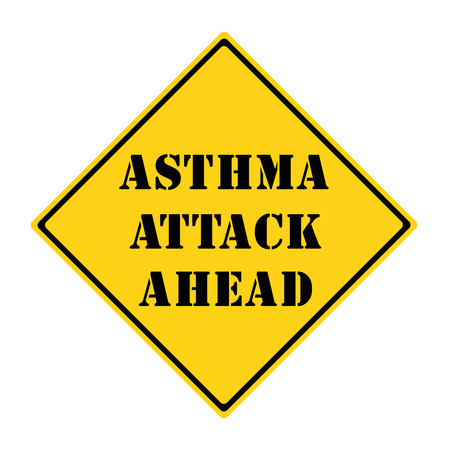 A yellow and black diamond shaped road sign with the words ASTHMA ATTACK AHEAD making a great concept. Stock Photo