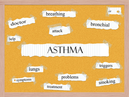 bronchial: Asthma Corkboard Word Concept with great terms such as attack, bronchial, air and more.