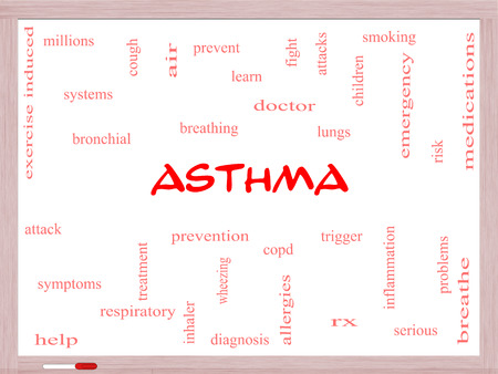 Asthma Word Cloud Concept on a Whiteboard with great terms such as lungs, breathing, prevent and more.