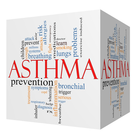 bronchial: Asthma 3D cube Word Cloud Concept with great terms such as lungs, breathing, prevent and more. Stock Photo