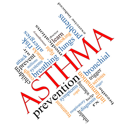 bronchial: Asthma Word Cloud Concept angled with great terms such as lungs, breathing, prevent and more.