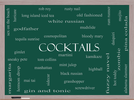 Cocktails Word Cloud Concept on a Blackboard with great terms such as martini, highball, gimlet and more. photo