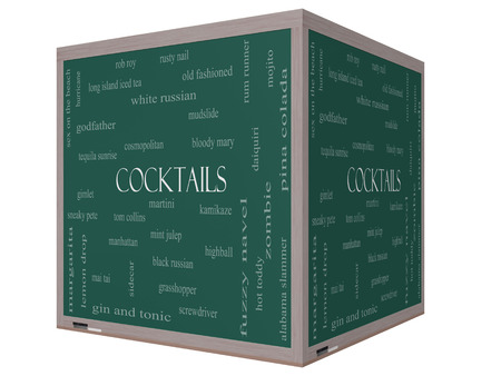 Cocktails Word Cloud Concept on a 3D cube Blackboard with great terms such as martini, highball, gimlet and more. Standard-Bild