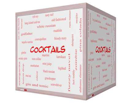 Cocktails Word Cloud Concept on a 3D cube Whiteboard with great terms such as martini, highball, gimlet and more.