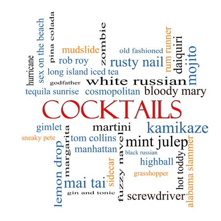 Cocktails Word Cloud Concept with great terms such as martini, highball, gimlet and more. photo